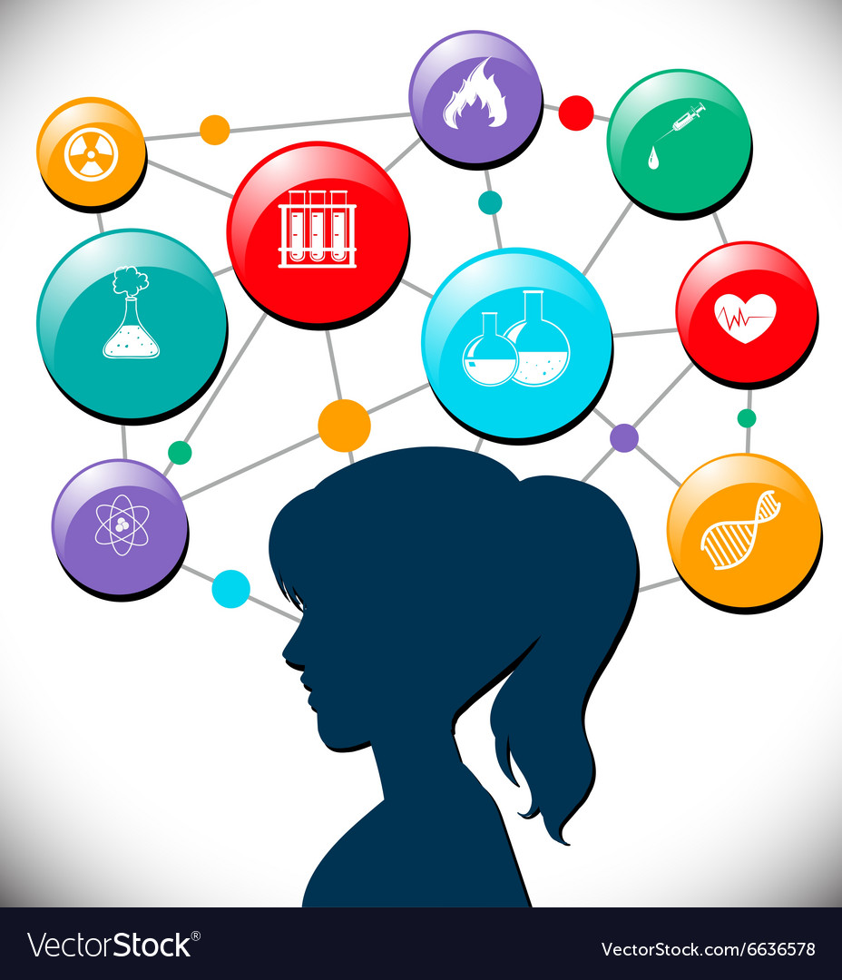 Woman with science icons diagram vector