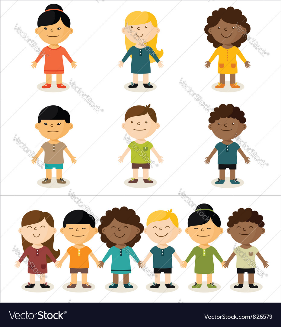 Cute smiling multicultural children vector