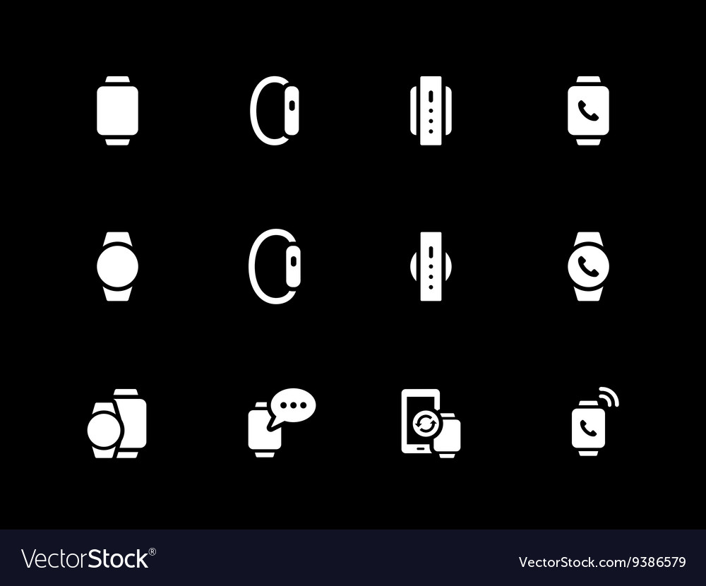 Flat classic smart watch icons on black background vector