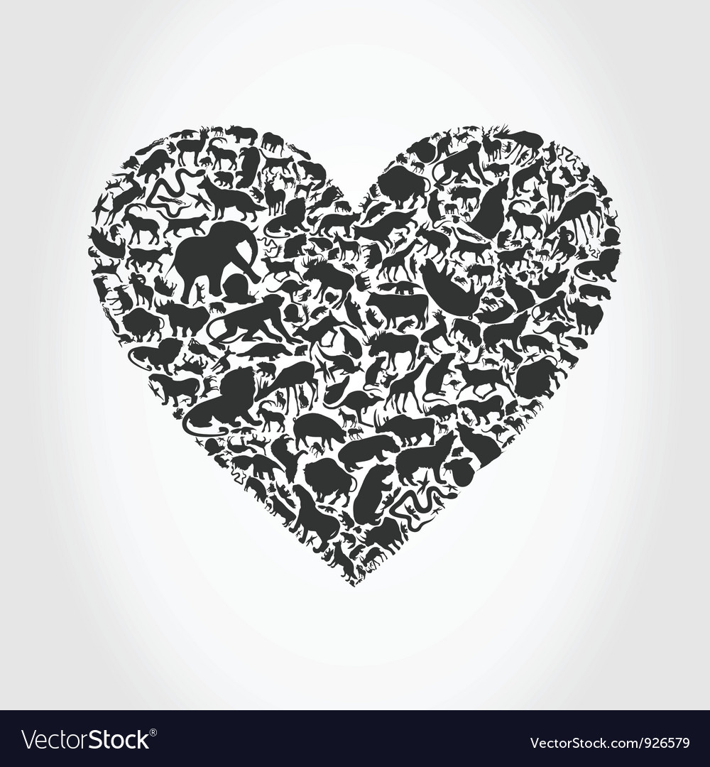 Heart animal3 vector