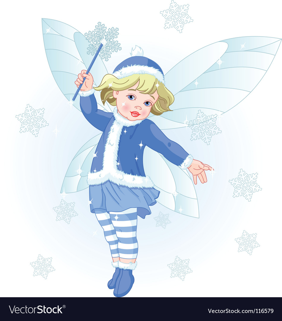 Winter baby fairy vector