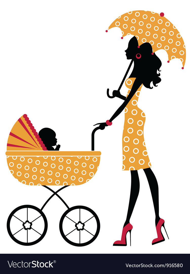 Chick mom with pram vector
