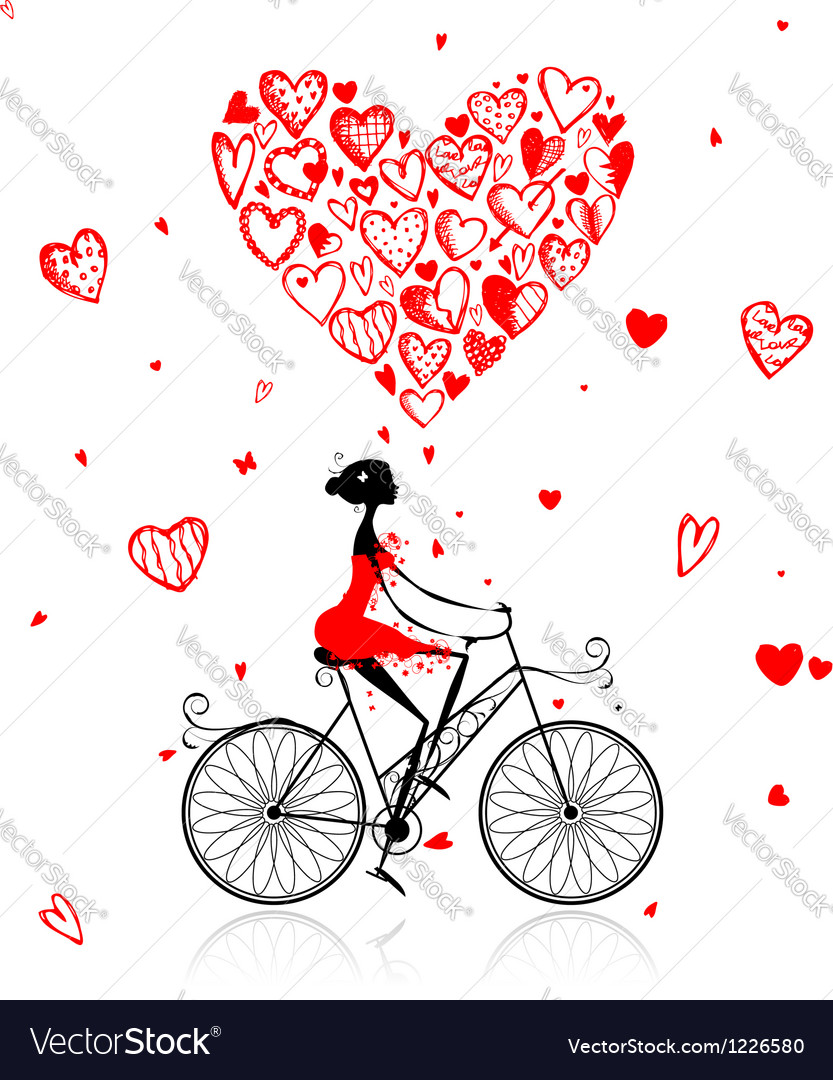 Girl cycling with big red heart for valentine day vector