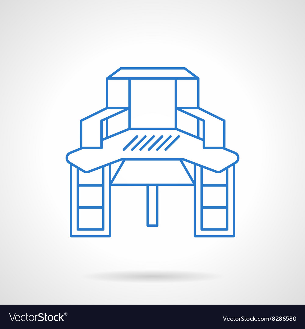 Sewing table blue flat line icon vector