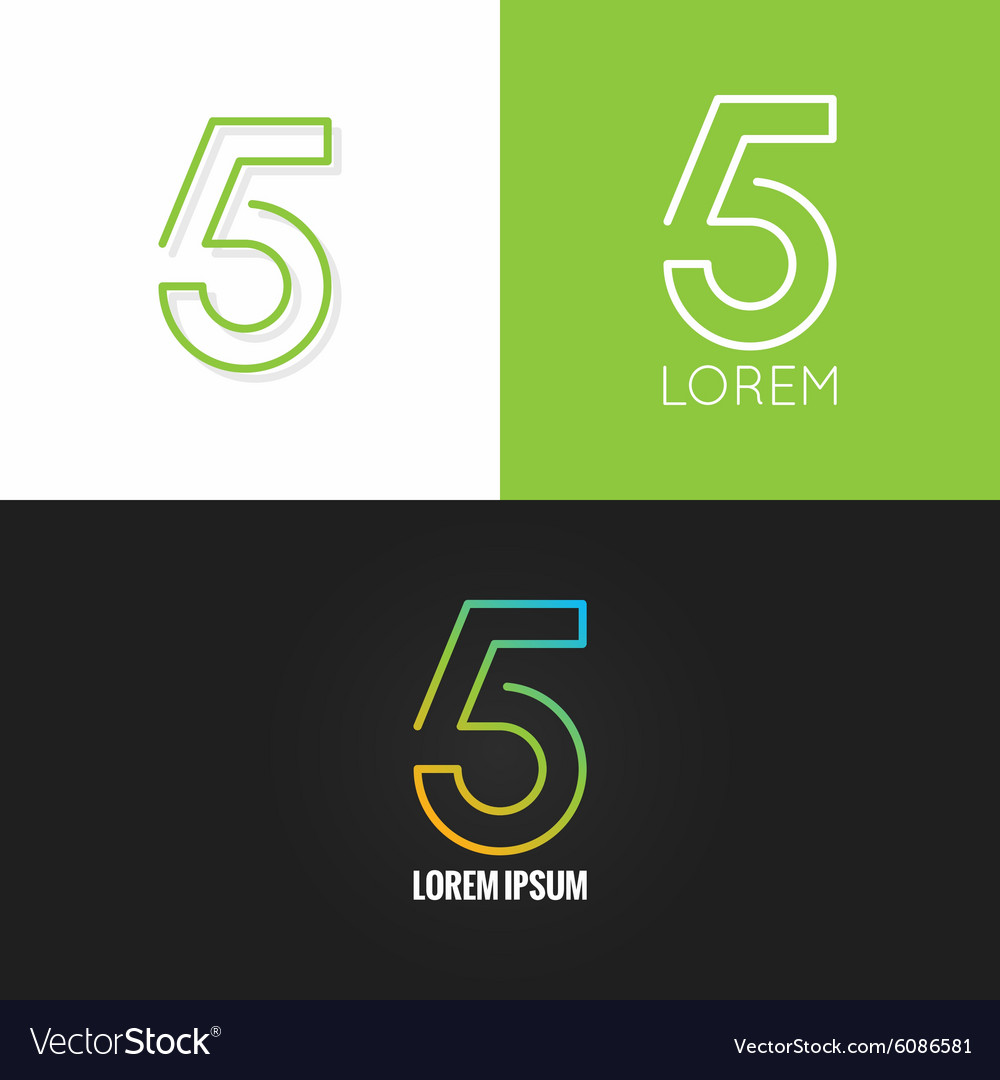 Number five 5 logo design icon set background vector