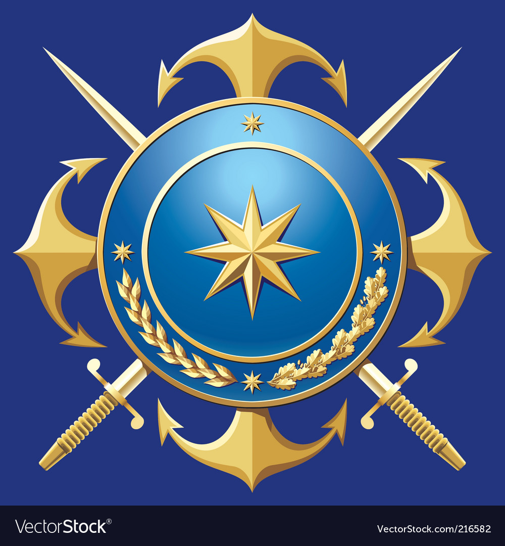 Navy style badge vector