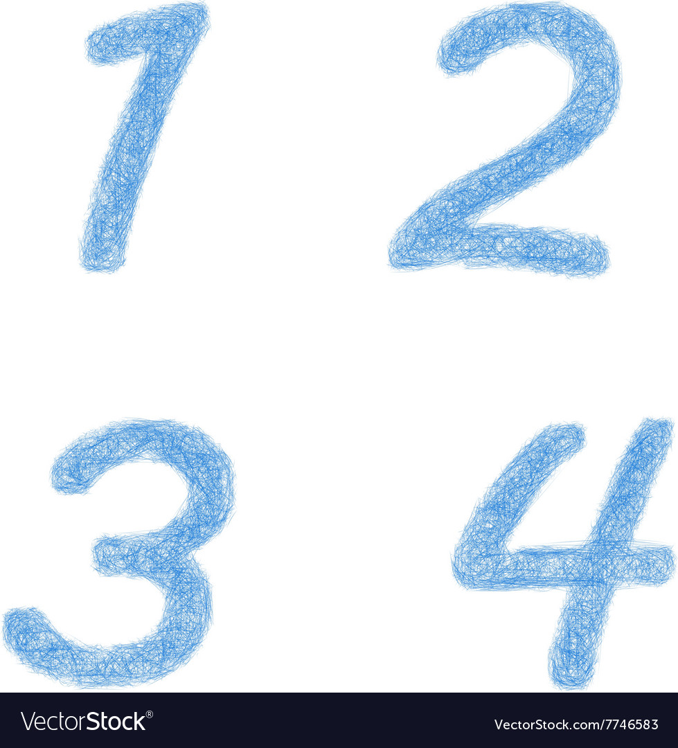 Sketch font set  numbers 1 2 3 4 vector