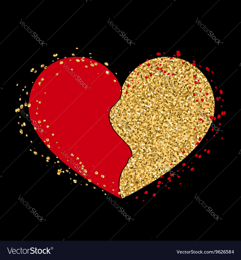 Halves gold heart icon golden red splash vector