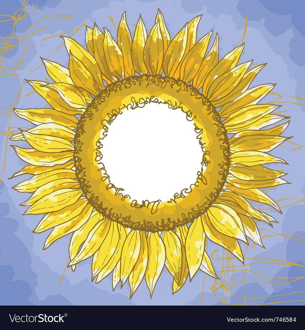 Square frame with sunflowers vector