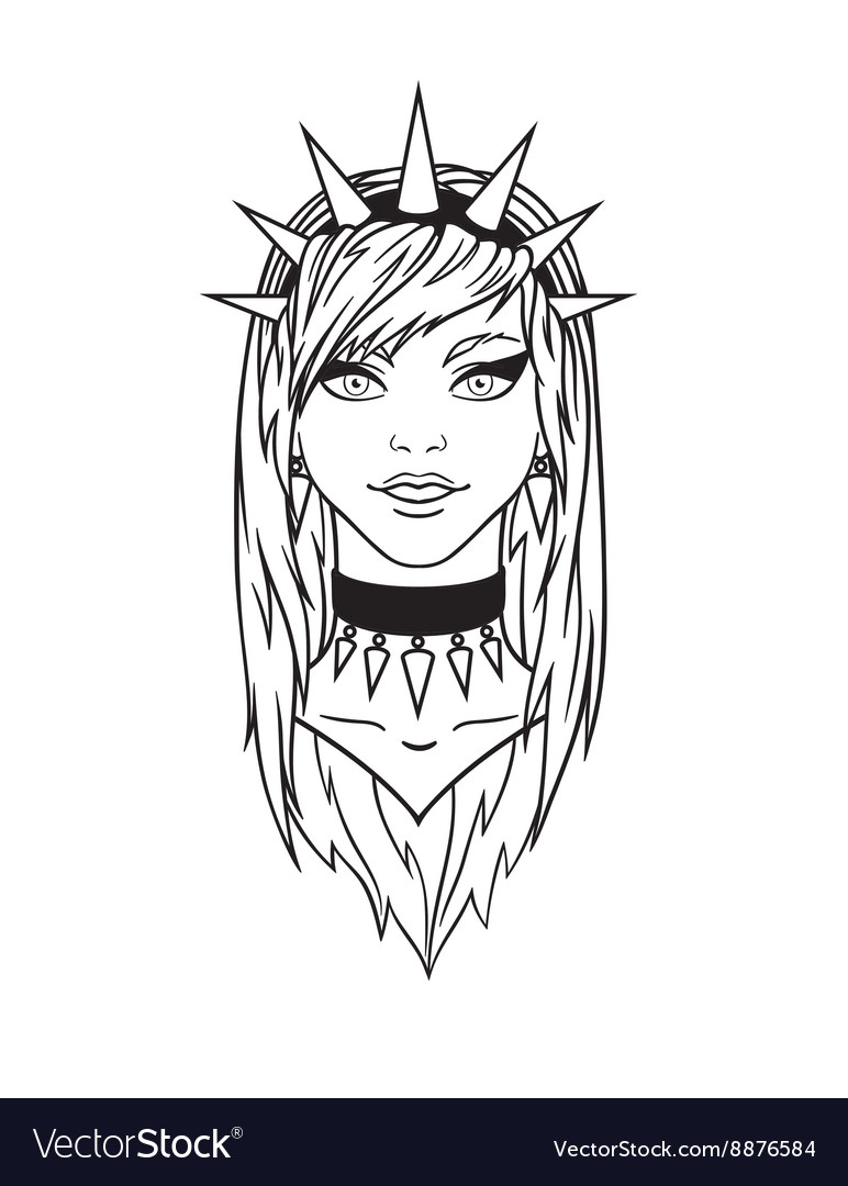 Stylish subcultural young girl with spiked bezel vector