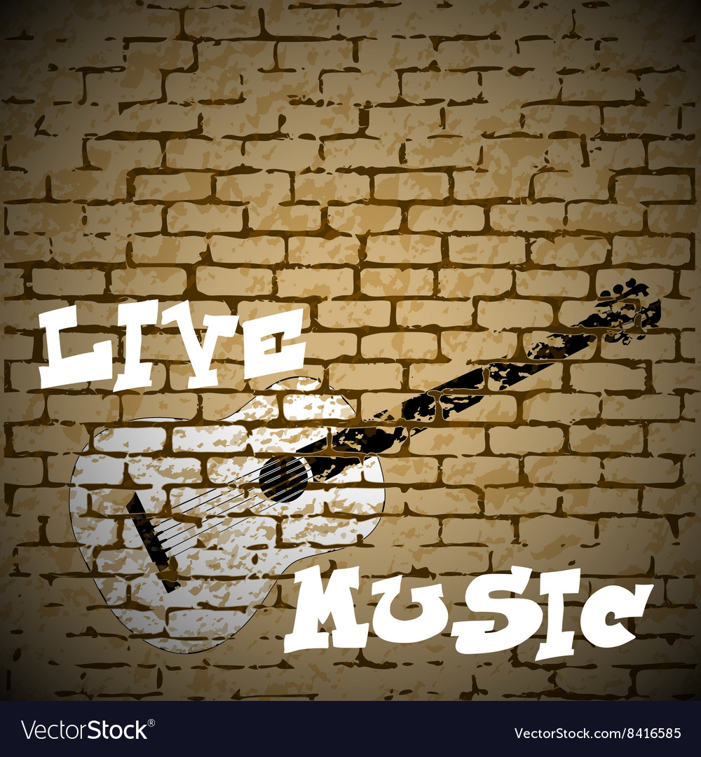 Live music guitar on a brick background vector