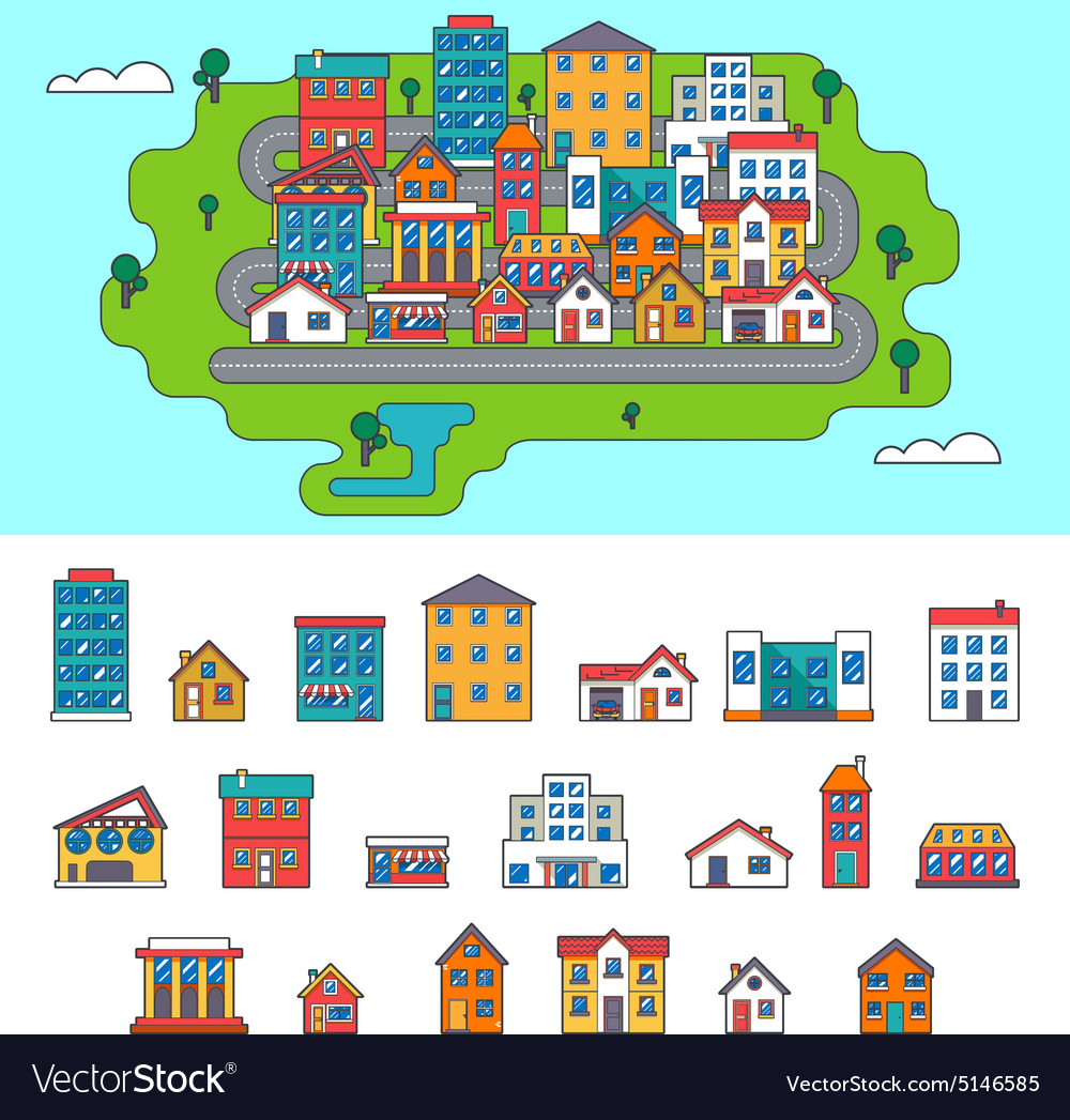 Real estate city building house street flat icons vector