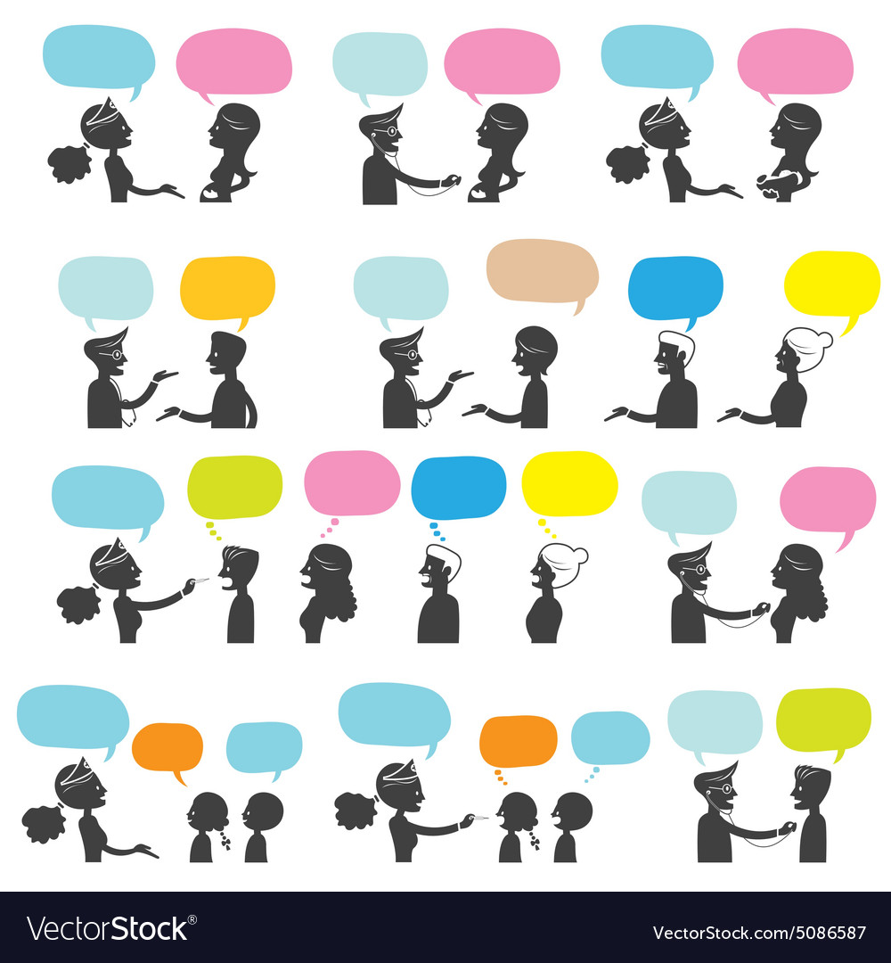 Doctor and nurse talk to people silhouette vector