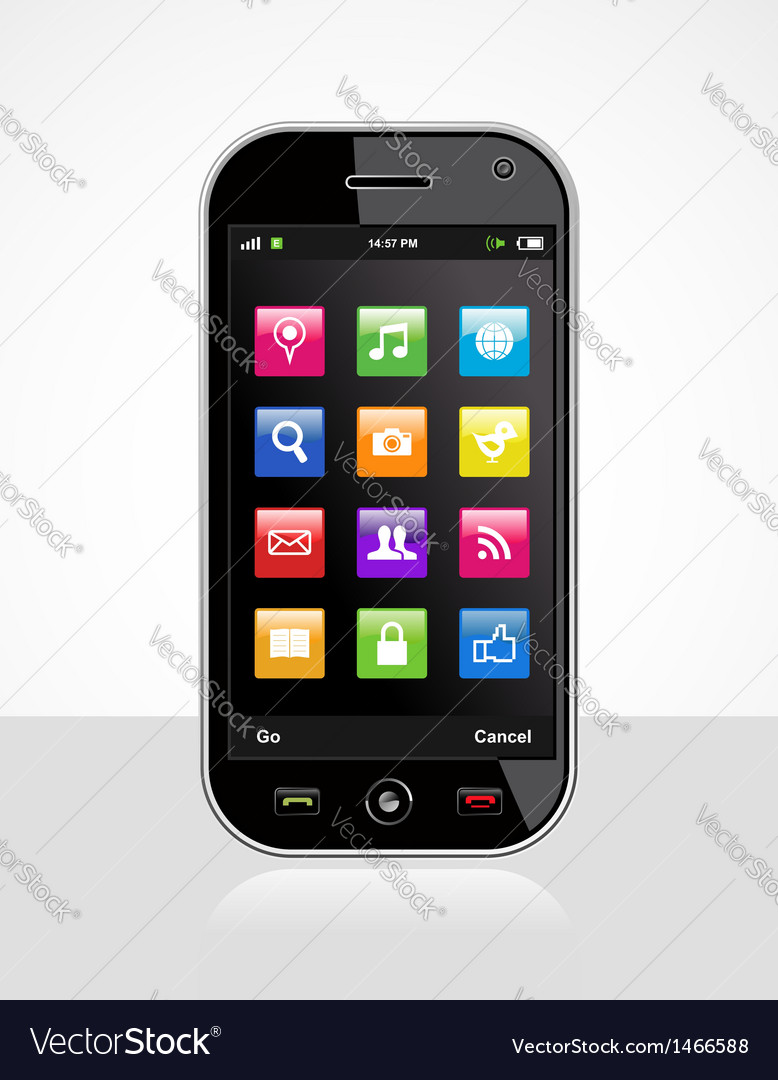 Smartphone with application icons vector
