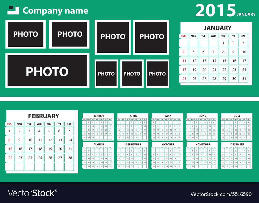 2015 calendar with green background vector