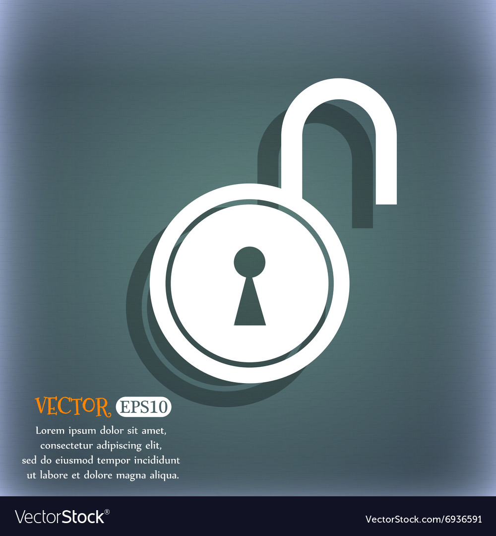 Open lock icon on the bluegreen abstract vector