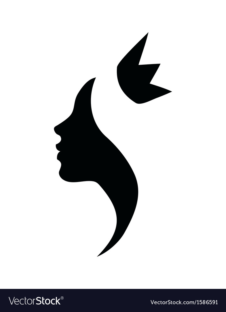 Princess profile black silhouette vector
