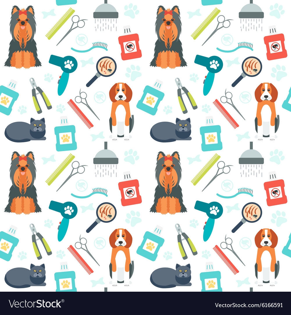 Seamless pattern grooming for animals pet care vector