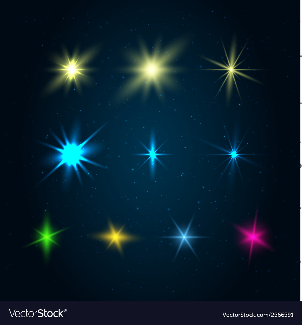 Set of 10 glowing design elements vector