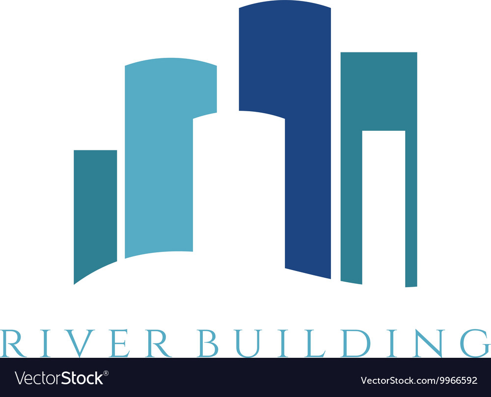 Real estate template with building vector