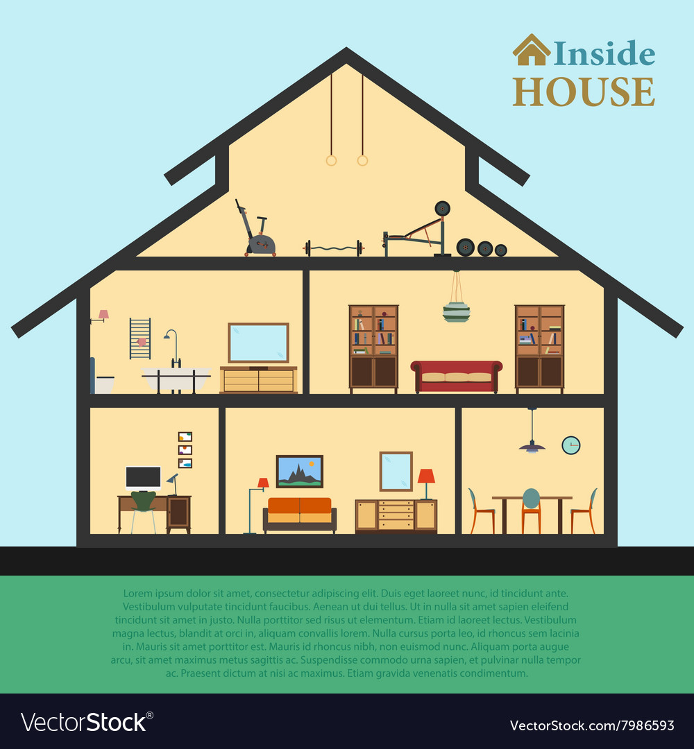 Detailed house in cut different modern furniture vector
