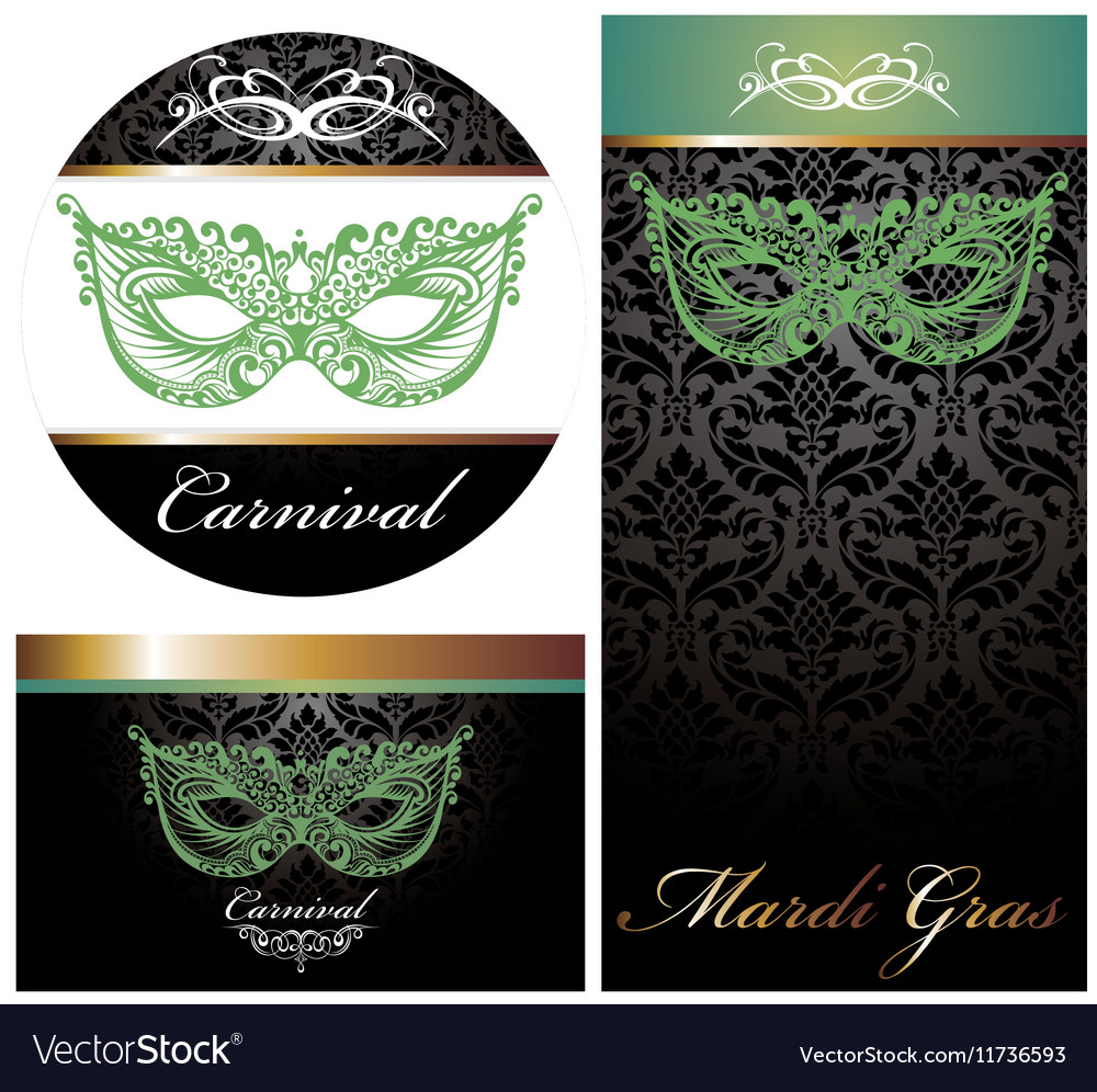 Masquerade ball party invitation posters vector