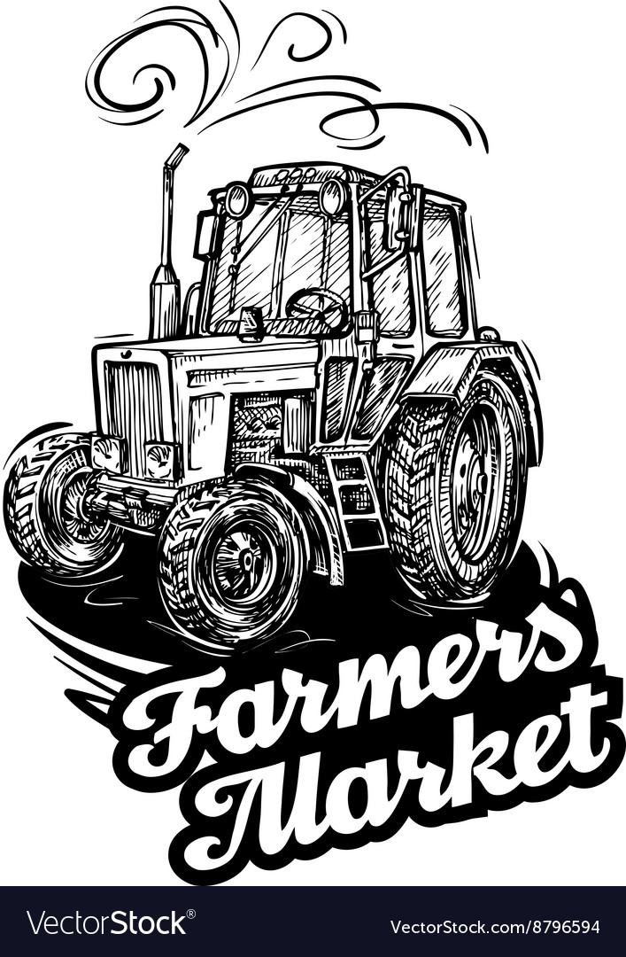 Farm tractor handdrawn sketch vector