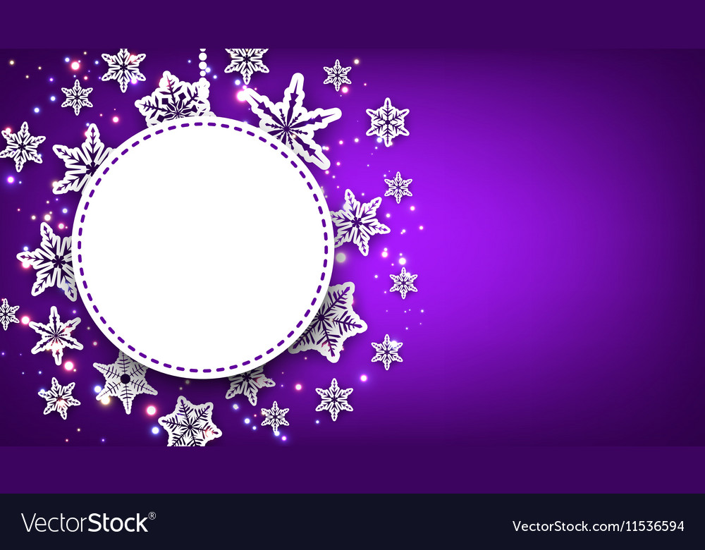Purple christmas background with snowflakes vector