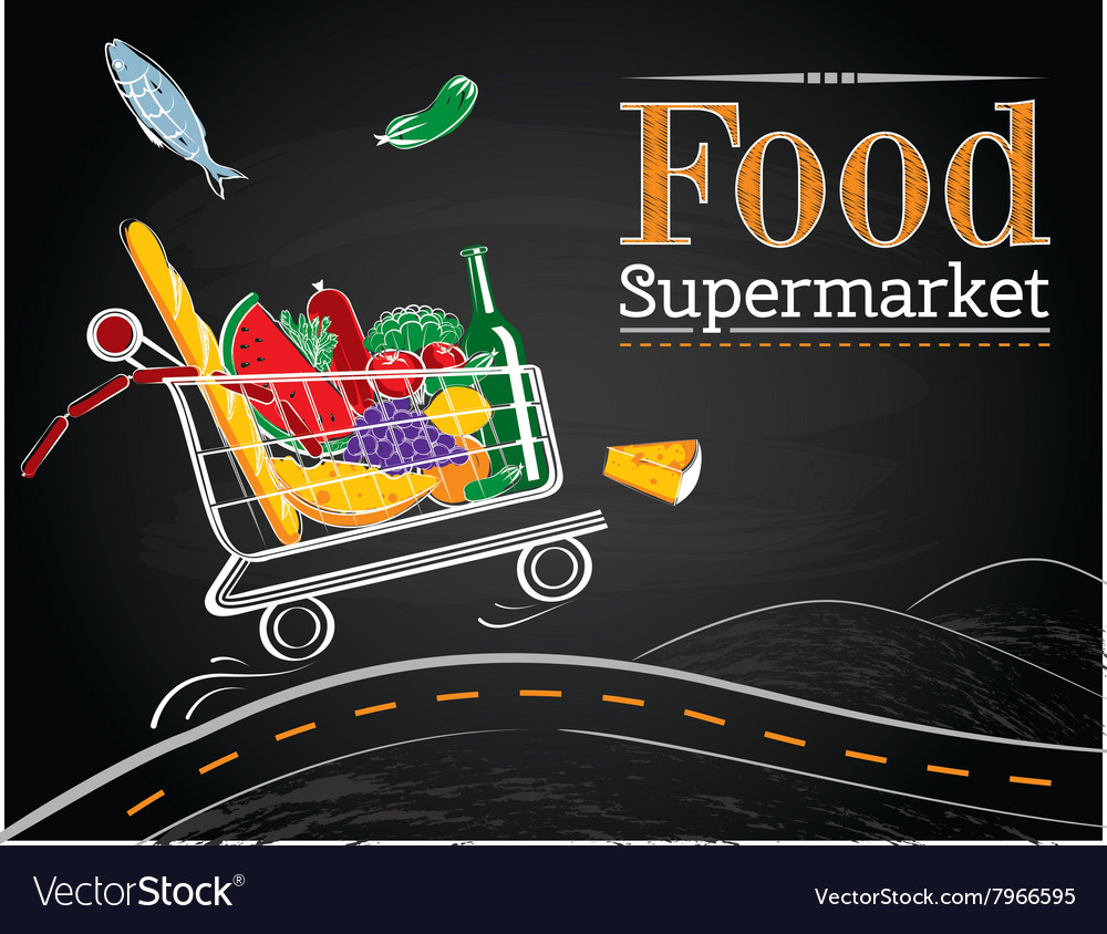 Trolley full of delicious food driving on the road vector