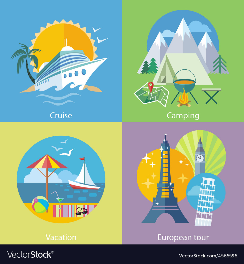 Traveling tour cruise ship and camping concept vector