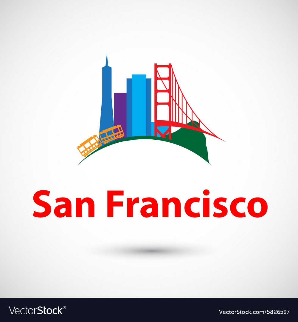 Colorized silhouette of san francisco usa vector