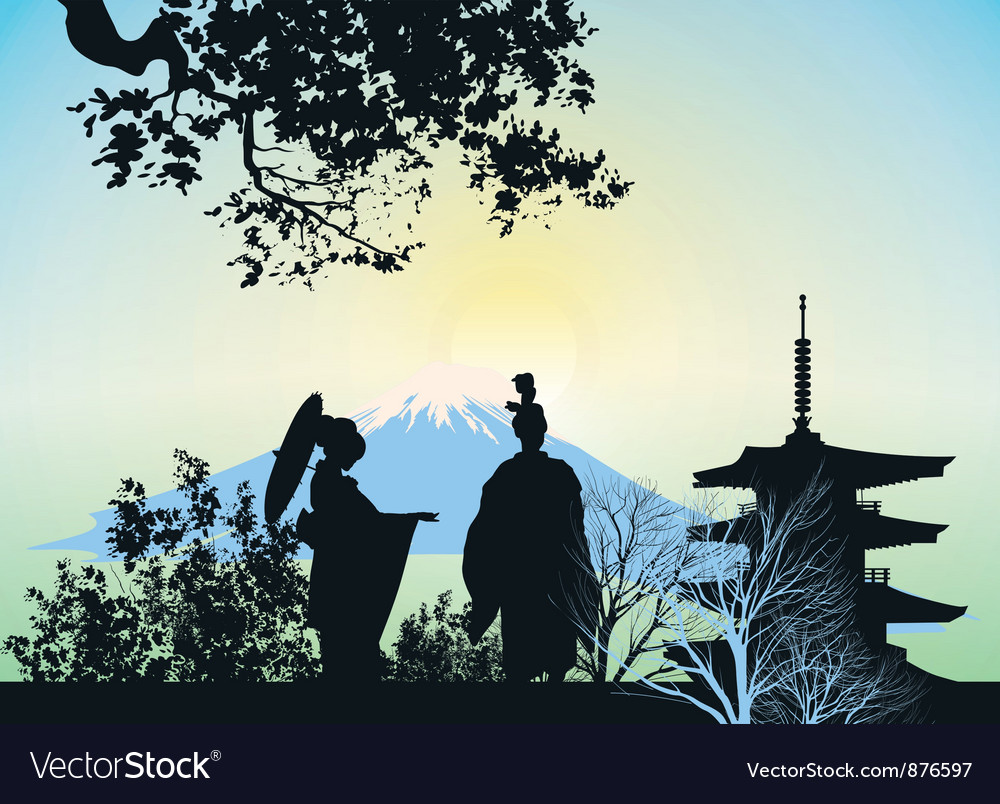 Geisha mountains and trees vector