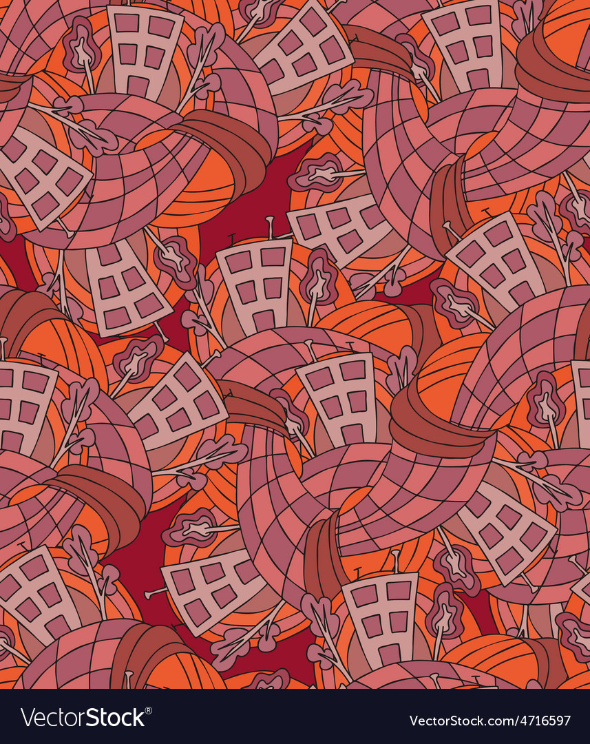 Handdrawn seamless pattern with abstract houses vector