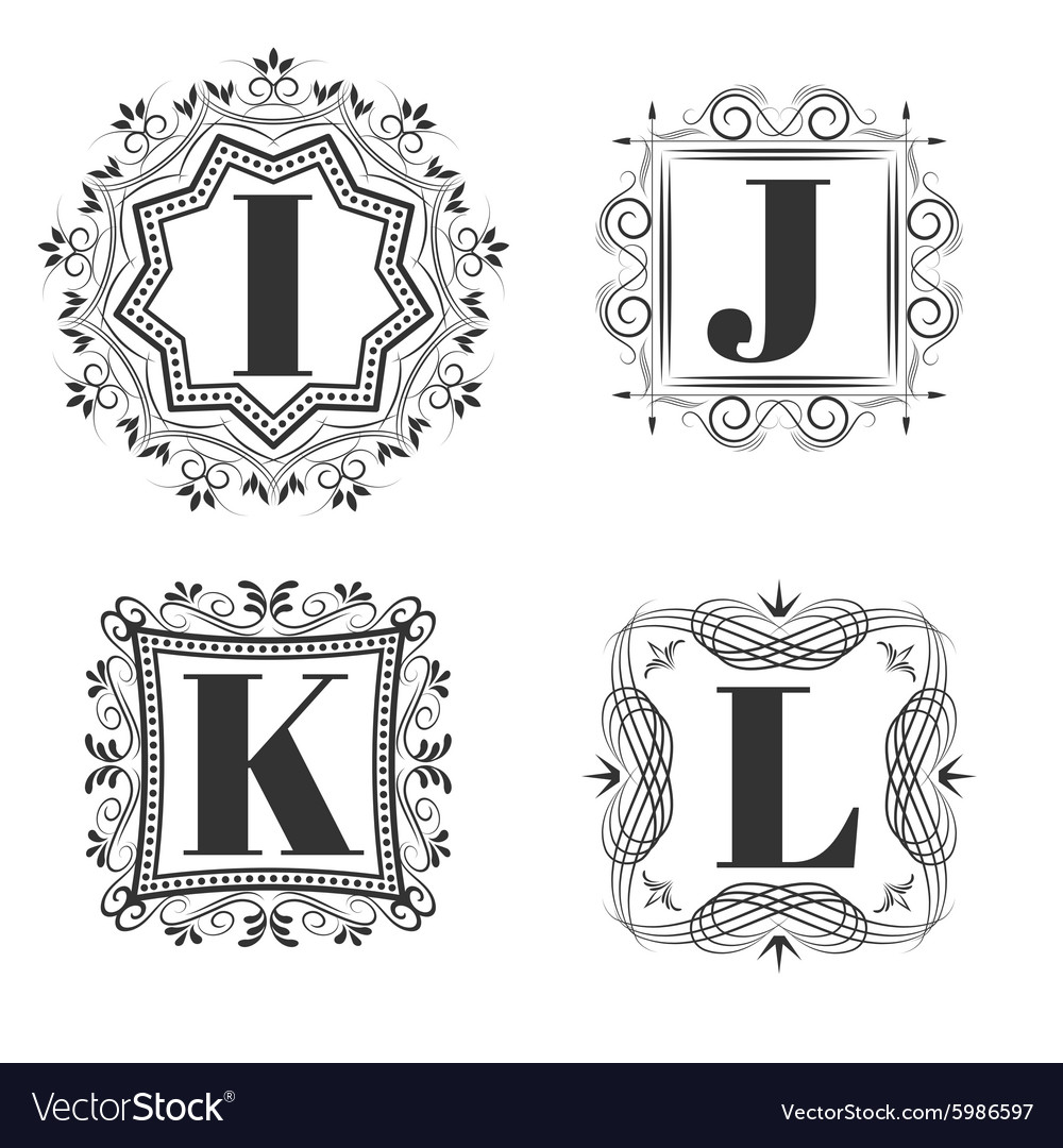 Set of classical logo or monogram design letters vector