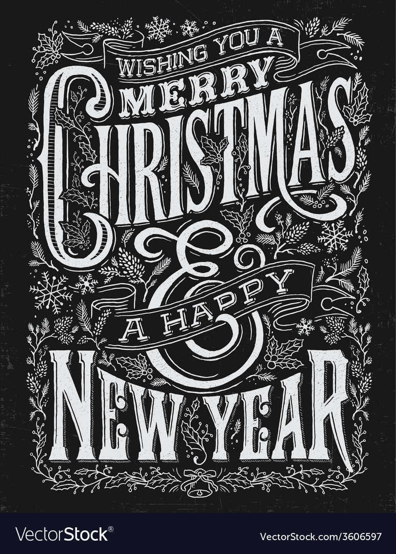 Vintage christmas and new year chalkboard typograp vector