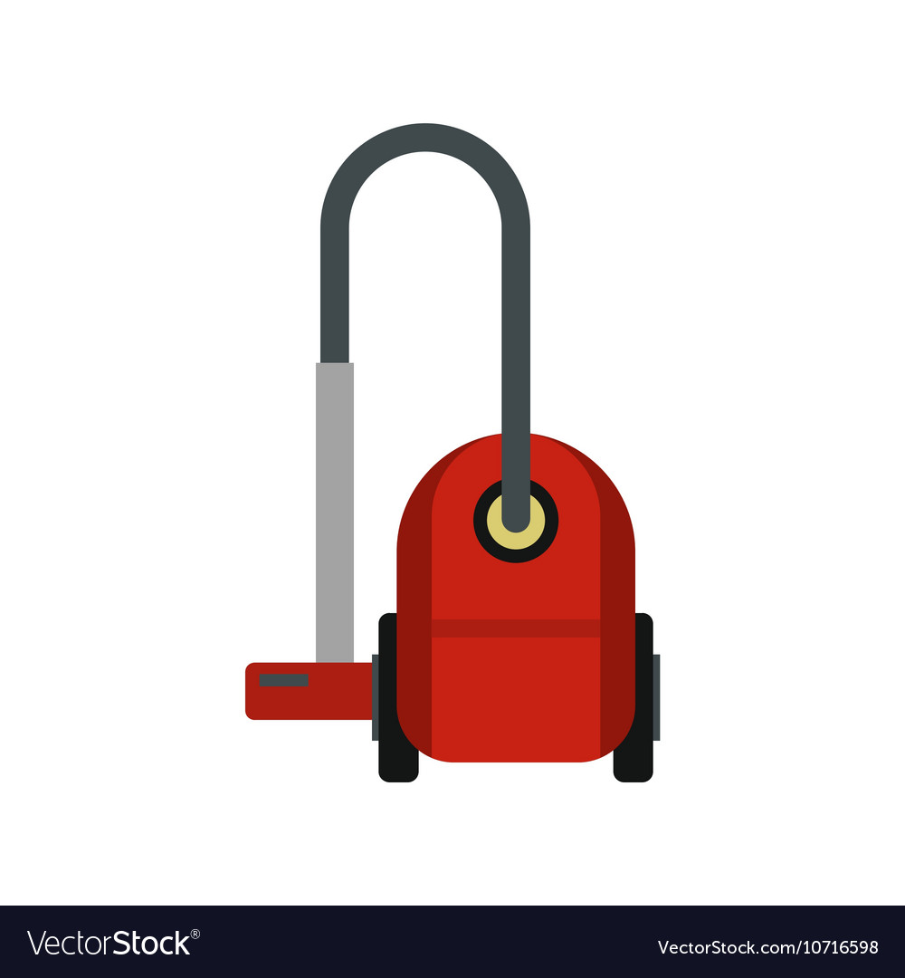 Red vacuum cleaner icon flat style vector