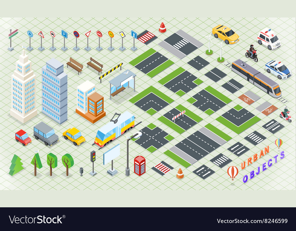 Isometric part of the city infrastructure vector