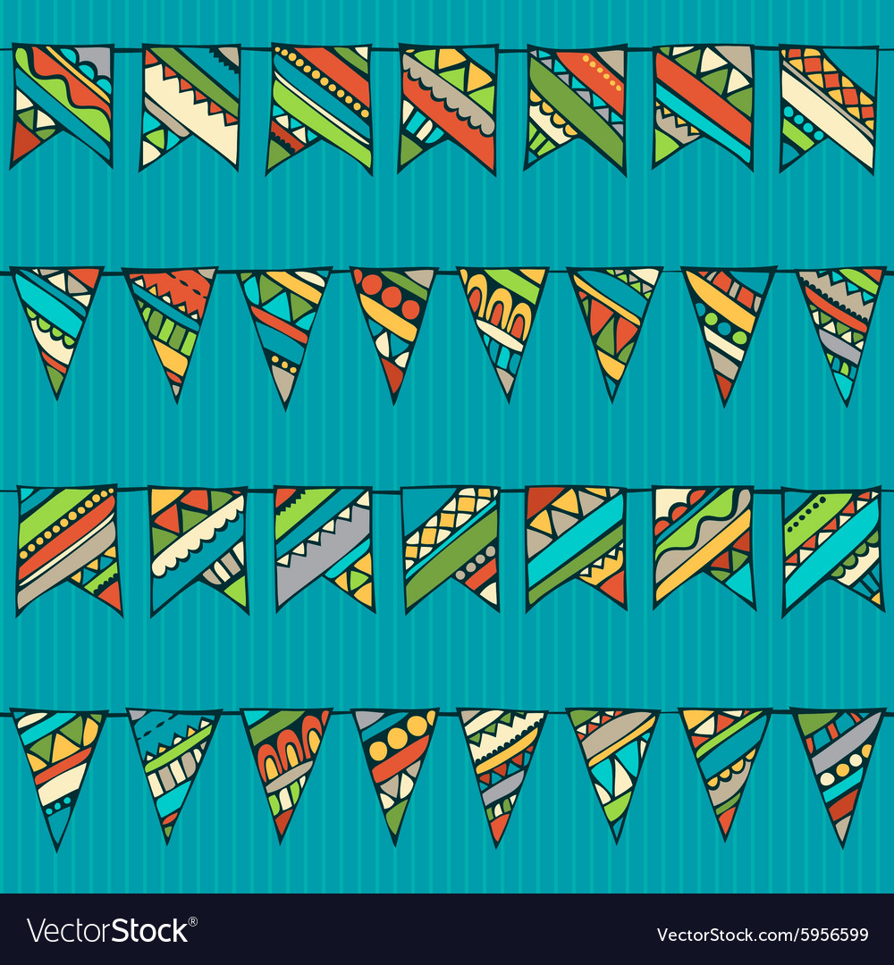 Seamless pattern of doodles garlands vector