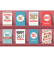 Set of Happy New Year and Merry Christmas brochure vector image vector image