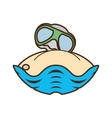 sand glasses beach oyster graphic vector image