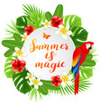 summer banner with parrot vector image vector image