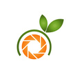 Photography logo with orange aperture and leaves vector image