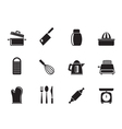Silhouette Kitchen and household Utensil Icons vector image vector image