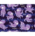 Octopuses in cartoon seamless pattern vector image