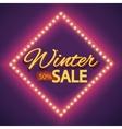 Winter sale with purple lights vintage frame vector image