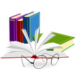 spectacles and opened book on a white background vector image