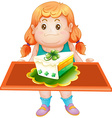 Fat girl holding tray of cake vector image vector image