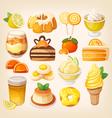 Colorful lemon and orange desserts vector image