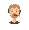 Portrait of speaking male customer support phone vector image