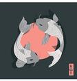 Two carp koi fish swimming around Sun traditional vector image
